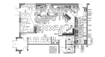 Retail design floor plan cad drawing services shelf for Floor plan drafting services